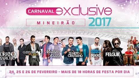 Carnaval Exclusive Mineirão 2017 divulga programação completa