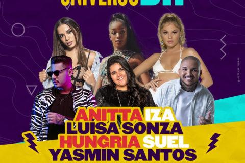 Festival Universo BH acontece neste sábado com Anitta, Iza, Luísa Sonza, Yasmin Santos, Suel e Hungria